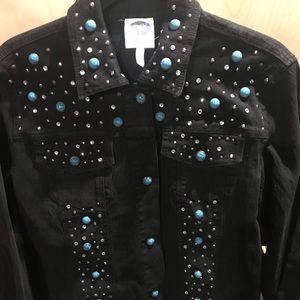 Womans Medium Black Jean Jacket Blue Silver Studs